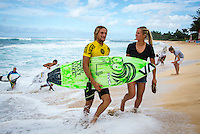 SUNSET BEACH, Oahu/Hawaii (Friday, December 5, 2014): Ricardo Christe (NZL) who has quailfied fro the 2015 WSL with Page Harib (NZL). The Vans World Cup of Surfing was  called ON this morning with competition begining with Round 4. <br /> A new NW 6 - 8 foot swell was on hand for the final which built through the day to 10 foot plus by the afternoon.<br /> Four island boys reached the final, three from the islands of Hawaii and one from the islands of tahiti. By the final hooter it was the Tahitian Michel Bourez (PYF) who emerged vitreous with Dusty Payne (HAW) 2nd, Sebastien Zietz (HAW) 3rd and Ian Walsh (HAW) 4th. Photo: joliphotos.com