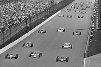 INDIANAPOLIS, IN - MAY 31: Bobby Rahal (#3) drives his March 86C 13/Cosworth on the parade lap before winning the Indianapolis 500 on May 31, 1986, at the Indianapolis Motor Speedway in Indianapolis, Indiana.