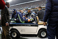 Jimmy Graham #88 of the Seattle Seahawks talks to teammate Doug Baldwin #89 after injuring his knee on an attempted pass in the end zone against the Pittsburgh Steelers in the second half during the game at CenturyLink Field on November 29, 2015 in Seattle, Washington. (Photo by Jared Wickerham/DKPittsburghSports)
