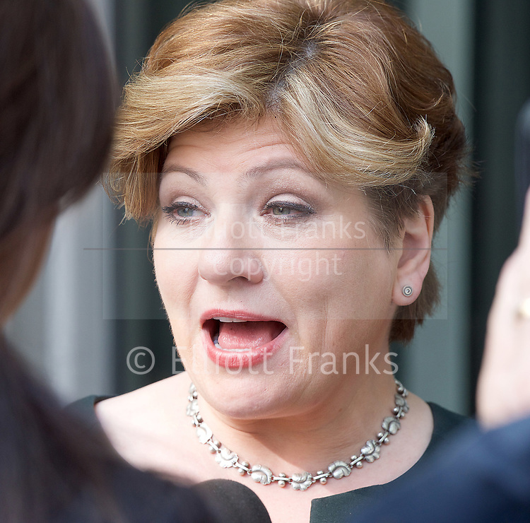 Andrew Marr Show <br /> departures <br /> BBC, Broadcasting House, London, Great Britain <br /> 9th April 2017 <br /> <br /> Emily Thornberry<br /> Shadow Foreign Secretary<br /> interviewed on ITN News as she left the BBC <br /> <br /> <br /> <br /> Photograph by Elliott Franks <br /> Image licensed to Elliott Franks Photography Services