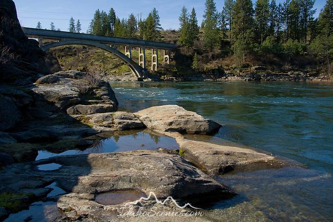 Water pools in the rocks below the Post Falls bridge, Post Falls, Idaho.