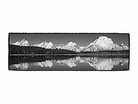 Grand Tetons - North Jackson Lake, WY - Panoramic - Black & White - Custom Border