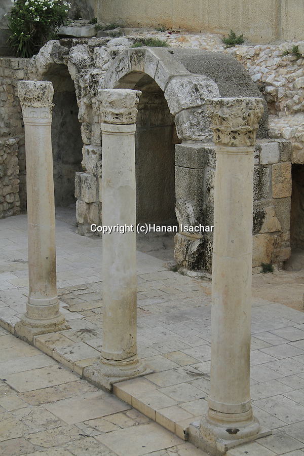 Remains of the Byzantine Cardo, built by Emperor Justinian in the 6th century, at the Jewish Quarter of Jerusalem Old City
