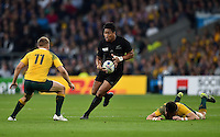 Julian Savea of New Zealand takes on the Australia defence. Rugby World Cup Final between New Zealand and Australia on October 31, 2015 at Twickenham Stadium in London, England. Photo by: Patrick Khachfe / Onside Images