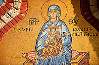 Mosaic of the Madonna, Virgin Mary Theotokos, Monastery, Paleokastitsa, 18th century Greek Orthodox. Corfu Ionian Island, Greece