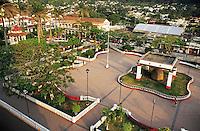 The main plaza or square in Santiago de Tuxtla which has as a center piece an enormous pre-hispanic Olmeca head.  Veracruz, Mexico 2002