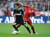 FUSSBALL   1. BUNDESLIGA  SAISON 2012/2013   7. Spieltag FC Bayern Muenchen - TSG Hoffenheim    06.10.2012 Takashi Usami (li, TSG 1899 Hoffenheim) gegen Bastian Schweinsteiger (FC Bayern Muenchen)