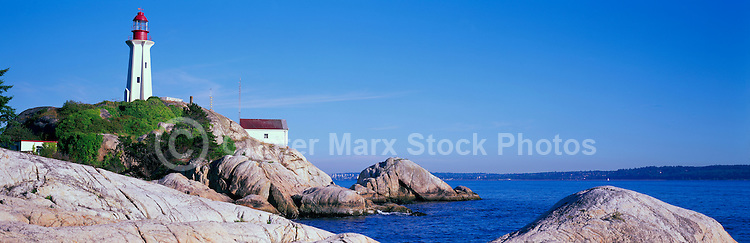 Point Atkinson Lighthouse (built 1912) in Lighthouse Park, West Vancouver, BC, British Columbia, Canada - Panoramic View