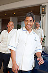 The Halekulani Hotel, the Hawaiian name meaning House Befitting Heaven, located on Waikiki beach in Honolulu, Hawaii offers stunning views of Diamond Head in a historic, secluded and exclusive setting. The valet boys will greet guests as they arrive at the hotel.