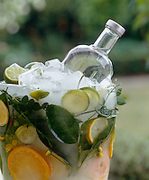 A homemade ice bucket with slices of citrus fruits and leaves frozen into it is an effective and unique way of keeping a bottle of vodka cold for a summer party