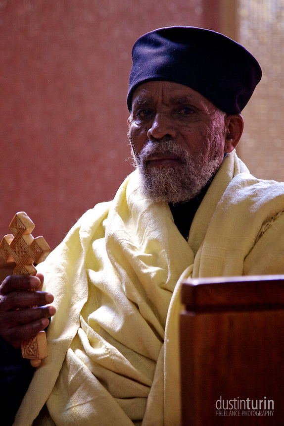 Priest at Haile Selassie Church in Addis. The Ethiopian Orthodox Church is hugely important in the country.