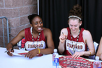 SAN ANTONIO, TX - APRIL 4:  Nnemkadi Ogwumike and Hannah Donaghe at an autograph session on April 4, 2010 at the Alamo Dome in San Antonio, Texas.