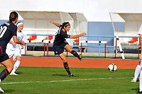 Yael Averbuch kicks vs. Iceland.  The USWNT defeated Iceland (2-0) at Vila Real Sto. Antonio in their opener of the 2010 Algarve Cup on February 24, 2010.