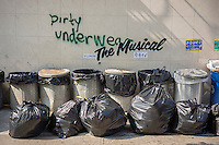 "Graffiti enthusiasts flock to the Williamsburg neighborhood of  New York on Friday, October 4, 2013 to see the one of the fourth installments of Banksy's graffiti art. Bansky annotated existing graffiti with the phrase ""The Musical"" in three locations, in the Lower East Side, Bushwick and Williamsburg. The elusive street artist will be creating works around the city each day, during the month of October accompanied by a satirical recorded message parodying a museum tour which you can get by calling the number 1-800-656-4271 followed by  # and the number of artwork.  (© Richard B. Levine)"