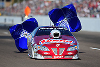 Feb. 18, 2012; Chandler, AZ, USA; NHRA pro stock driver Greg Anderson during qualifying for the Arizona Nationals at Firebird International Raceway. Mandatory Credit: Mark J. Rebilas-