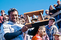 Sunny Garcia (HAW) winner of the 1995 Rip Curl Pro at bells Beach, Torquay, Victoria, Australia. Good friend and fellow Hawaiian John Shimooka (HAW) was runner up. The finals were held at Winki Pop as the surf at Bells Beach was not good enough. Photo: joliphotos.com