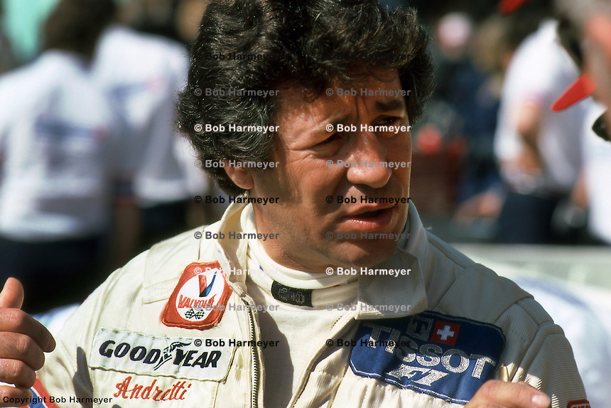 LONG BEACH, CA- MARCH 30: Mario Andretti in the pit lane prior to driving his Lotus 81 R2/Ford Cosworth DFV in the United States Grand Prix West on March 30, 1980, on the temporary street circuit in Long Beach, California.