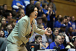18 January 2015: Miami head coach Katie Meier. The Duke University Blue Devils hosted the University of Miami Hurricanes at Cameron Indoor Stadium in Durham, North Carolina in a 2014-15 NCAA Division I Women's Basketball game. Duke won the game 68-53.
