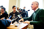 California Gov. Jerry Brown talks about milestones and accomplishments from 2011 with reporters in his office at the State Capitol in Sacramento, Calif., December 27, 2011..