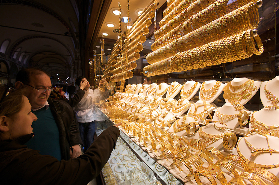 Istanbul. The Great Bazar (Kapali C?arsi). Gold shop.