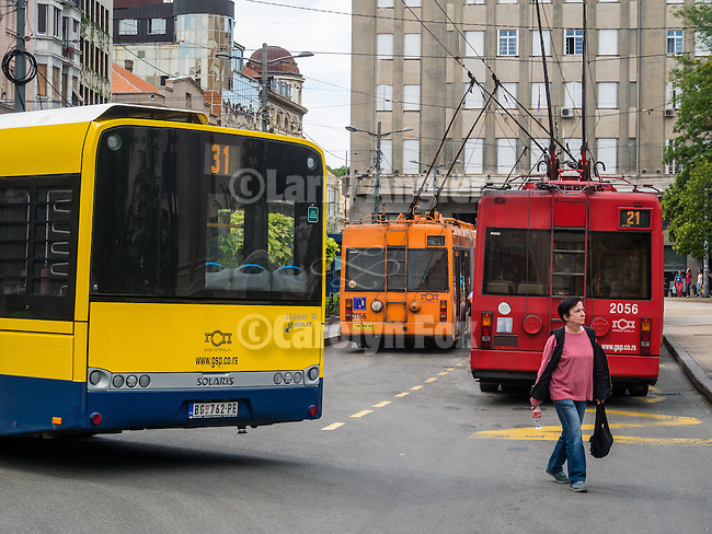 Colorful electric busses, In the streets, Alexander Bulivard<br /> <br /> Belgrade, Serbia