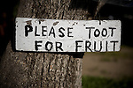 A sign at Otow Orchard in Granite Bay, CA May 4, 2010.