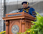 "May 17, 2015; Aaron Neville sings the ""Ave Maria"" after being award the Laetare Medal at the 2015 Commencement ceremony. (Photo by Matt Cashore/University of Notre Dame)"