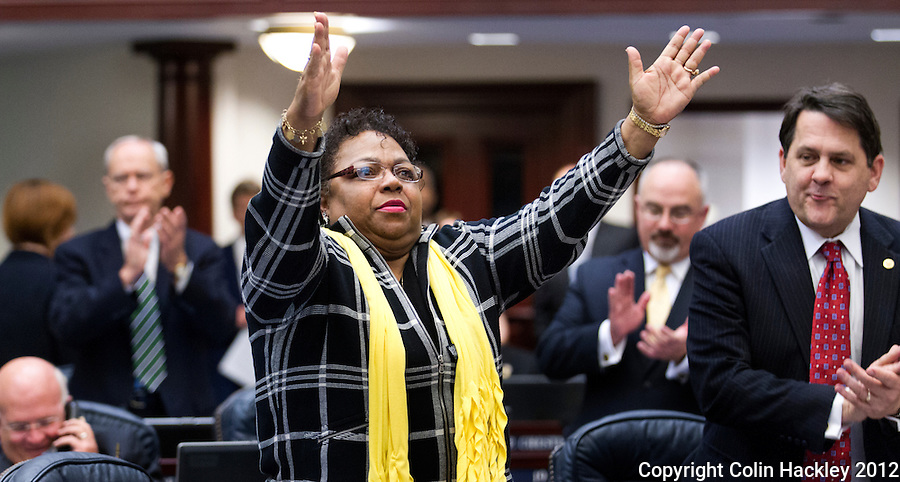 TALLAHASSEE, FLA.3/9/12-SESSIONEND030912 CH-Sen. Larcenia J. Bullard, D-Miami, blows kisses to the House chamber after being introduce during the final day of the regularly scheduled 2012 legislative session, Friday at the Capitol in Tallahassee. Save for possible special sessions, Friday will mark Bullard's final day in the legislature. Bullard began her career in the legislature in 1992 when she was elected to the House...COLIN HACKLEY PHOTO