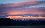 Sunset lighting up the Purcell mountains in north Idaho