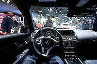 The interior of a Mercedes Benz 2015 E350 is seen during the International Auto Show 2015 in New York. 04.06.2015. Eduardo MunozAlvarez/VIEWpress.