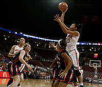 Ohio State Buckeyes forward Martina Ellerbe (23) shoots over Tennessee Martin Skyhawk defenders in the second half at Value City Arena in Columbus Dec. 17, 2013.(Dispatch photo by Eric Albrecht)