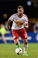 Jonny Steele (22) of the New York Red Bulls. The New York Red Bulls and the Philadelphia Union played to a 0-0 tie during a Major League Soccer (MLS) match at Red Bull Arena in Harrison, NJ, on August 17, 2013.
