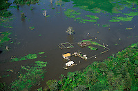 Aerial view of flooded houses in lower Amazon floodplain during high waters at end of rainy season, Pará, Brazil.