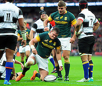 Roelof Smith of South Africa is congratulated on his try. Killik Cup International match, between the Barbarians and South Africa on November 5, 2016 at Wembley Stadium in London, England. Photo by: Patrick Khachfe / JMP