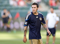 Newly acquired Philadelphia Union defender Danny Califf (4). The Philadelphia Union and CD Chivas USA played to 1-1 draw at Home Depot Center stadium in Carson, California on Saturday evening July 3, 2010..