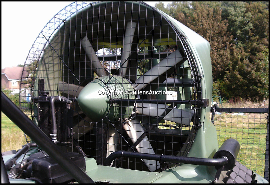 BNPS.co.uk (01202 558833)<br /> Pic: JuliensAuctions/BNPS<br /> <br /> ***Please Use Full Byline***<br /> <br /> The fan of the hovercraft that features in the James Bond film, Die Another Day. <br /> <br /> Est: &pound;30,000<br /> <br /> The iconic micro-jet flown by Roger Moore in Octopussy and the swivel chair used by super-villain Blofeld are among a host of props from James Bond movies coming up for sale.<br /> <br /> The 12ft long BD-5J red, white and blue aircraft, that is the world's lightest jet, was piloted by 007 in the opening scenes of Octopussy, outwitting his Cuban captors.<br /> <br /> The aircraft was actually built seven years before the film as part of an air display team and was hired for the 1983 Bond flick.