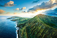 An aerial view of the sunset from behind Koko Crater, with Hanauma Bay on the far left, East O'ahu.