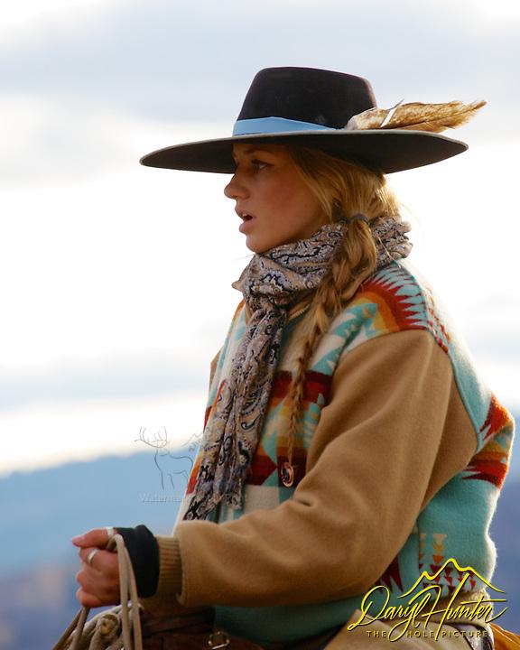 Working cowgirl, Cydnie Clark,  Alpine Wyoming