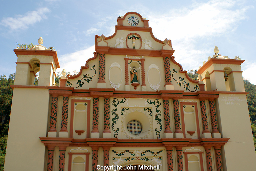 The restored 17th century Iglesia de San Matias church in the Lenca Indian village of La Campa, Lempira, Honduras...