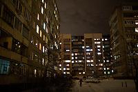 Apartment buildings at night in Ufa, Bashkortostan, Russia.