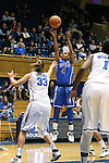 27 October 2013: Chloe Wells (4) shoots over Haley Peters (33). The Duke University Blue Devils played their annual preseason Blue White women's college basketball game at Cameron Indoor Stadium in Durham, North Carolina.