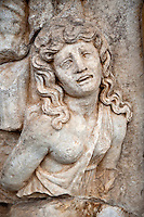 Photo of Roman releif sculpture of a Female Captive. Aphrodisias Archaological Museum, Turkey