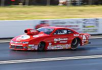 Jun 6, 2015; Englishtown, NJ, USA; NHRA pro stock driver Drew Skillman during qualifying for the Summernationals at Old Bridge Township Raceway Park. Mandatory Credit: Mark J. Rebilas-