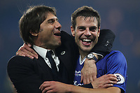 Chelsea Manager, Antonio Conte celebrates with Cesar Azpilicueta at the final whistle during Chelsea vs Watford, Premier League Football at Stamford Bridge on 15th May 2017