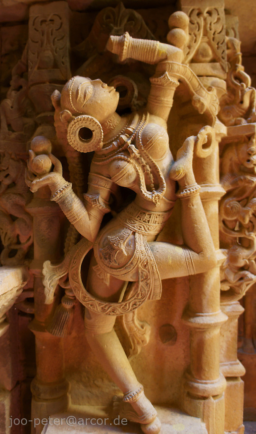 sculpture of a female dancer  in Jain temple, Fort Jaisalmer, Rajastan, India