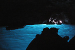 Tourists inside the blue grotto, capri