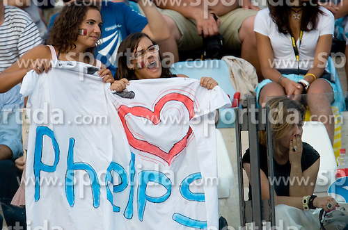 Fans of Michael Phelps of USA when he competes during the Men's 200m Butterfly Semi-Final during the 13th FINA World Championships Roma 2009, on July 28, 2009, at the Stadio del Nuoto,  in Foro Italico, Rome, Italy. (Photo by Vid Ponikvar / Sportida)