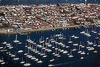 aerial view above Balboa Island Newport Beach Orange County California