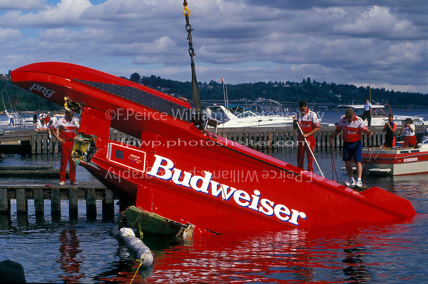 "U-1 ""Miss Budweiser T-3"" is flipped back over."