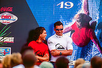 Sunny Garcia (HAW) with Derek Ho (HAW) after winning the 1995 Quiksilver Pro France at the Grand Plage, Biarritz in the South West of France. Photo: joliphotos.com